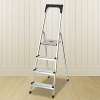 慧樂家 家用梯 鋁合金四步家用折疊安全梯人字梯 白色 22143