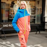 RUNNINGRIVER 奔流 戶外單板野雪防風透氣女式情侶款連體滑雪服套裝
