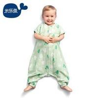 米樂魚 嬰兒睡袋寶寶睡袋短袖分腿夏款2層紗布防踢被子 綠洲精靈-大90*52cm