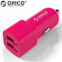 奧??疲∣RICO)UCL-2U 雙口USB車載充電器 智能匹配充電設備 蘋果安卓手機平板通用 粉色