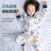 棉布樹嬰兒睡袋春秋薄款兒童四季通用夏季純棉分腿寶寶防踢被神器