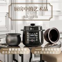 德國麥滋(MZeat)電壓力鍋高壓鍋6升一鍋雙膽環島加熱一鍵排氣家用大顯屏智能預約多功能壓力鍋 黑色(6L)