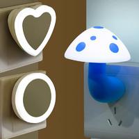 光控感應LED小夜燈床頭燈臥室嬰兒喂奶夜光插電迷你節能創意夢幻
