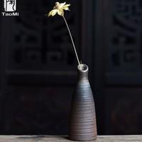 TAOMI 陶迷 無釉花器·君子 復古創意陶瓷花瓶 5*13cm