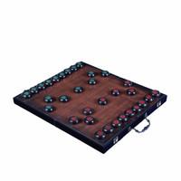 AlfunBel艾芳貝兒紫光檀象棋套裝+皮革象棋盤5.8厘米直徑