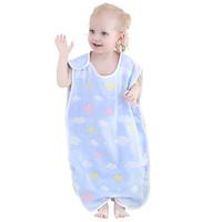 嬰兒睡袋棉紗布夏季薄款蘑菇新生幼兒分腿防踢被寶寶背心式春秋冬