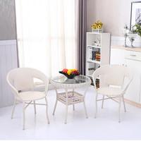 藤椅子茶幾五件套裝 現代簡約環保三件套帶桌子A79 陽臺休閑辦公戶外家具(白色 買1桌2椅送坐墊)