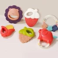 紐樂 嬰兒牙膠搖鈴玩具 0-1歲 6件套