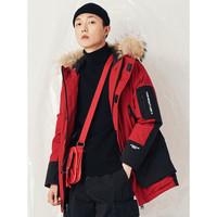 Jasonwood堅持我的連帽風衣男寬松保暖休閑厚外套新款時尚潮流青年 深紅 M/175 *2件