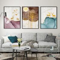 北歐輕奢絢麗招財客廳現代裝飾畫時尚沙發背景墻餐廳掛畫簡約壁畫