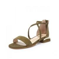 妙麗夏季專柜同款羊絨時尚一字帶方跟女涼鞋