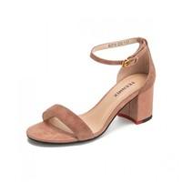 天美意夏新款商場同款一字帶通勤優雅羊絨粗跟女涼鞋