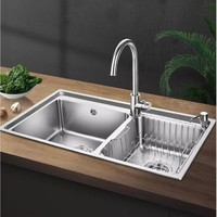 歐琳 廚房水槽雙槽套餐 304不銹鋼洗菜盆 水盆加深加厚水池洗碗池