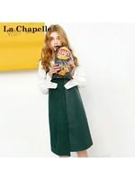 上新拉夏貝爾Puella秋冬新韓版時尚荷葉領PU皮吊帶裙兩件套女20011283