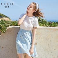森馬夏季假兩件連衣裙女卡通繡花套頭收腰條紋純棉裙子