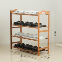 京東PLUS會員 : 易漫 實木 楠竹 鞋架 多功能鞋柜 置物架 層架 四層原木色 70CM