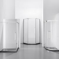 历史低价、补贴购:大白 钻石/弧/方型不锈钢淋浴房 亮银 0.8*1.0*1.9m