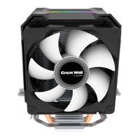 長城(GreatWall)蓋世G200 CPU散熱器(側吹式/2熱管/智能溫控/自動幻彩/9CM風扇/支持AM4/附帶硅脂)