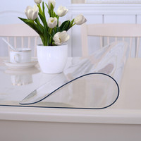 餐桌布軟玻璃桌墊茶幾墊防水透明加厚PVC水晶板 可定制純色透明 厚度2mm *3件