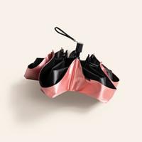 蕉下晴雨傘太陽傘女折疊防紫外線遮陽傘迷你五折黑膠傘膠囊系列絲影限定款 緞帶粉 *2件