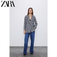 ZARA新款 女裝 格子雙排扣西裝外套 02255154076