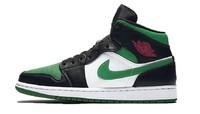 又到新低NIKE 耐克 Air Jordan 1 Mid 男士籃球鞋 黑綠腳趾