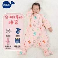 米樂魚 嬰兒睡袋兒童寶寶抱被秋冬防踢被厚夾棉小夜鶯70*48cm