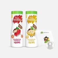 有品米粉節 : LittleFreddie 小皮 寶寶零食 泡芙手指谷物圈 42g 樹莓草莓味*2罐 + 一次性圍兜7片裝
