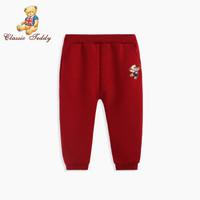 精典泰迪Classic Teddy童裝兒童褲子 布標口袋-葡萄紅 120 *3件