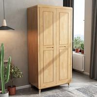 錦巢 實木衣柜 整體臥室北歐風格實木兩門衣柜柜子MLJZYK-11 原木色