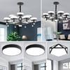 飛穩  北歐燈具LED客廳燈簡約現代大氣吊燈燈具套餐 黑咖色12頭 8頭兩室兩廳4件套