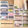 百露抽屜式收納箱收納柜透明內衣收納盒塑料整理箱寶寶儲物衣柜床頭柜 中號加厚單個裝 *4件