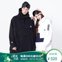滑雪服男長款滑雪帽衫單板滑雪服裝備男女款新款 黑色 L