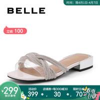 BELLE/百麗女鞋拖鞋夏新商場同款鉆/透明膠片方跟平底涼鞋U2T1DBT9 白色 37