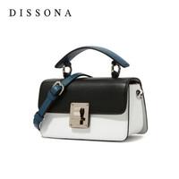 迪桑娜(DISSONA)包包女學院風單肩時尚女包小方包 簡約手提包斜挎包 81930170010000 拼色