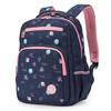 卡拉羊小學生書包男女孩1-4年級兒童透氣輕自重多色印花休閑背包CX2804薔薇粉幾何