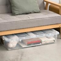 充分利用空间 日本双开盖床下滑轮收纳盒