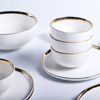 北歐餐具陶瓷盤子碗筷創意餐盤湯碗家用沙拉碗陶瓷碗盤碟套裝