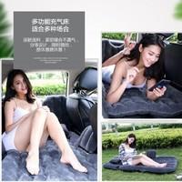 車載充氣床旅行床 suv轎車后排座通用睡墊自駕旅行汽車用品床墊野營氣墊床 升極雙檔分體式加厚植絨-灰色