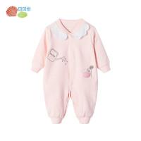 貝貝怡女童純棉連體衣秋季新款寶寶前開洋氣甜美連身衣爬服193L269
