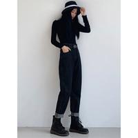 UROU B210春裝寬松直筒女士牛仔褲  黑色