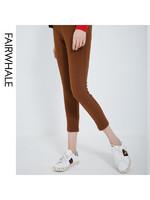 馬克華菲女裝2020春新純色基本款休閑長褲 緊身褲女顯瘦九分褲 *2件