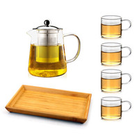 AlfunBel 艾芳貝兒 玻璃茶壺一壺四杯一茶盤 950ml