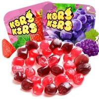泰國進口 酷樂(Korokoro) 果汁軟糖(葡萄味+草莓味)2袋裝80g *13件