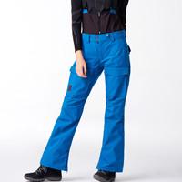 Running river奔流極限新款韓版防風防水透氣專業款女式時尚微喇單板背帶滑雪褲薄O7502N 藍色238 M/38