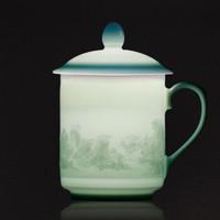 弄子里 景德鎮純手工陶瓷茶杯浮雕影青瓷泡茶帶蓋禮盒 富春山居圖