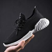 2020新款春夏男士透氣運動網鞋健身跑步鞋休閑百搭一腳蹬飛織男鞋