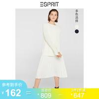 ESPRIT假兩件連衣裙女2019冬季新款氣質洋氣純色百褶裙129EE1I039 *3件