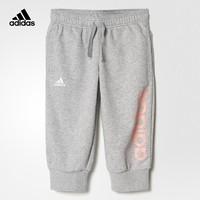 adidas kids阿迪達斯 訓練 女大童 針織3/4短褲 中麻灰 BP8590