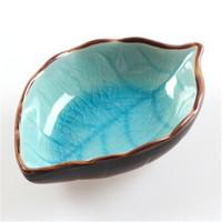 創意 冰裂釉樹葉陶瓷調料醬油醋小碟子 樹葉款多色可選 *3件